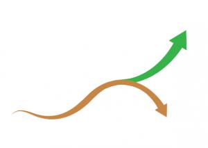 An arrow splitting in two
